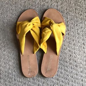 Mustard Yellow Cross Fabric Strapped Sandals